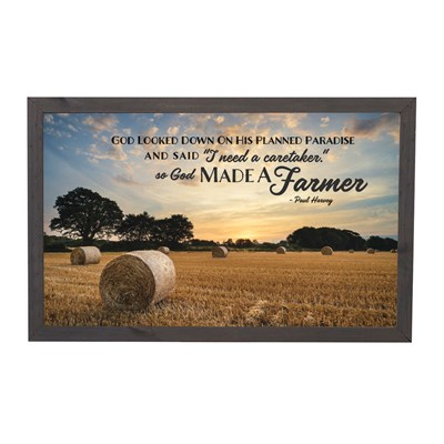 """God Made A Farmer"" Framed Sign"