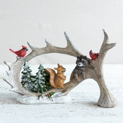 Moose Antlers with Forest Animals Figurine