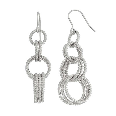 Rhodium Plated Link Drop Earring