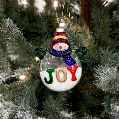 Joy Snowman with Confetti Snow Ornament
