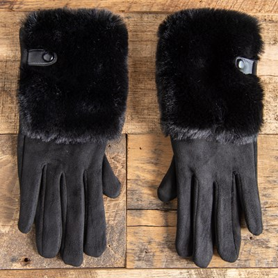 Black Fur Trim Gloves