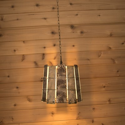 Galvanized Bucket Pendant Light