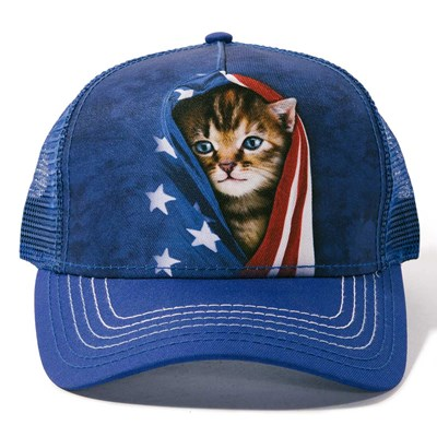 Patriotic Kitten Trucker Hat