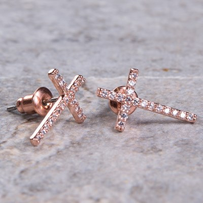 Rose Gold Cubic Zirconia Cross Stud Earring