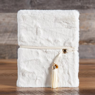 White Furry Journal with Tassel Closure