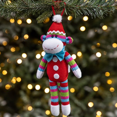 Fabric Sock Monkey Ornament