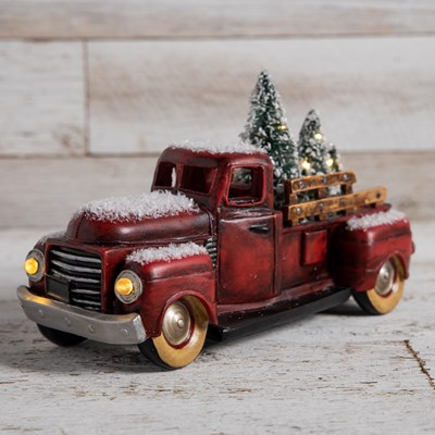 Light-Up Christmas Tree Delivery Truck Decor