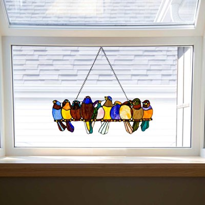 Stained Glass Birds on a Wire Window Panel