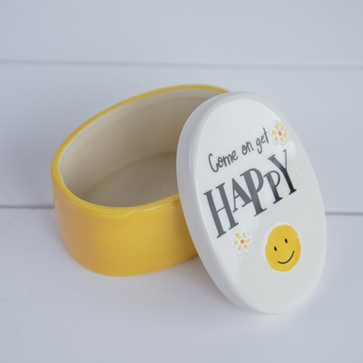 "Ceramic ""Happy"" Trinket Box with Lid - Yellow"