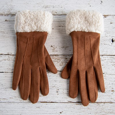 Suede Sherpa Gloves