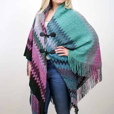 Multi-Color Sweater Toggle Shawl