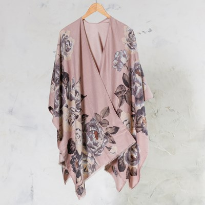 Blush Big Floral Shawl