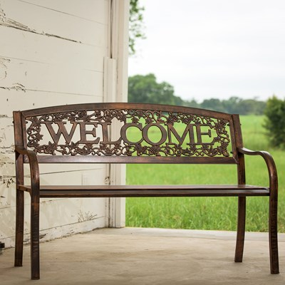 "Metal ""Welcome"" Bench"