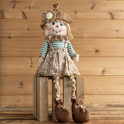 Fabric Scarecrow Sitter Decor - Girl