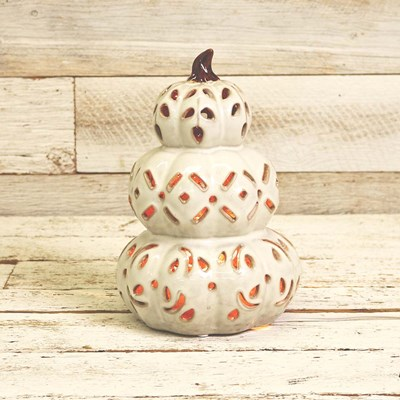 Ceramic Stacked Pumpkins Accent Light