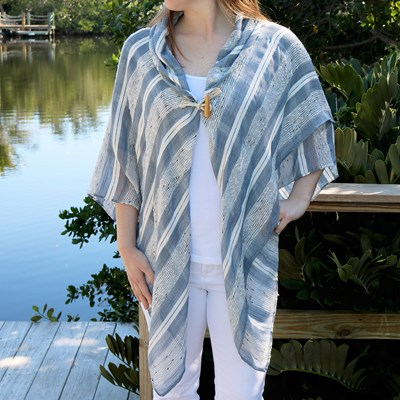 Textured Stripe Toggle Shawl