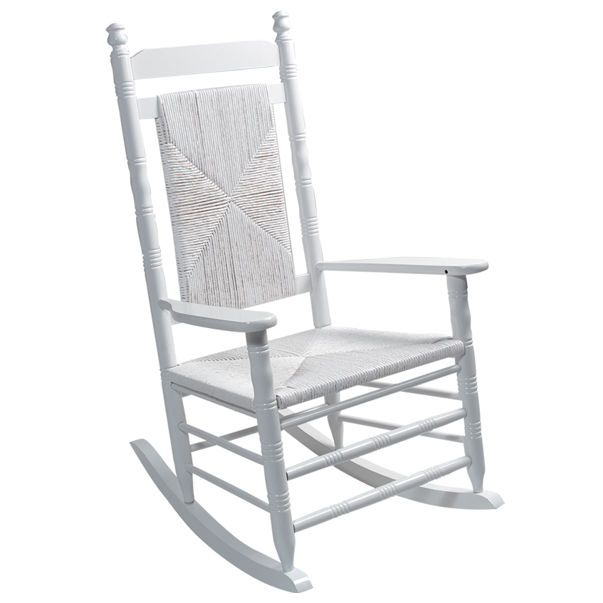 Woven Seat Rocking Chair   White