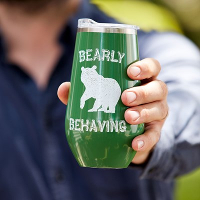 """Bearly Behaving"" 16oz. Stemless Tumbler"
