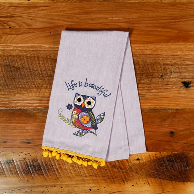 """Life Is Beautiful"" Owl Kitchen Towel"