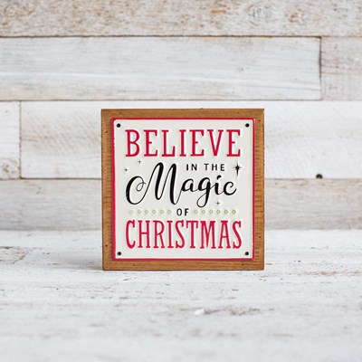 """Magic of Christmas"" Metal and Wood Box Sign"