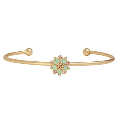 Swarovski Crystal Green Flower Bangle Bracelet - 14K Gold