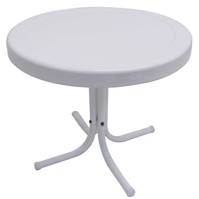 White Retro Metal End Table
