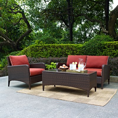 Kiawah 3-Piece Wicker Conversation Set