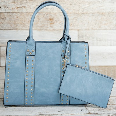 Women's 2-in-1 Blue Studded Bag