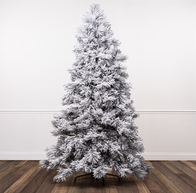 7.5' Pre-Lit Flocked Bowery Pine Christmas Tree