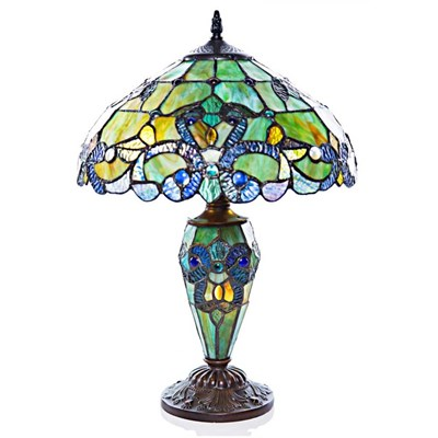 Stained Glass Magna Carta Double-Lit Lamp - Cool Tones