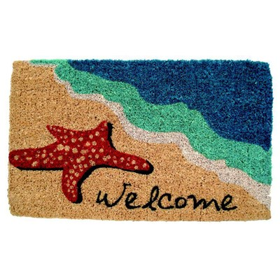 "Starfish ""Welcome"" Handwoven Coir Doormat"