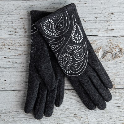 Paisley Gray Gloves