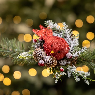 Glitter Cardinal in Nest Clip Ornament