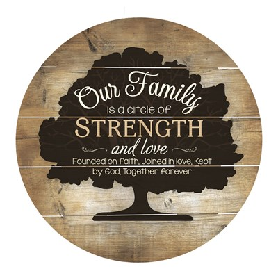"""Our Family"" Barrel Top Sign"