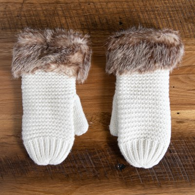 Faux Fur and Knit Mitten