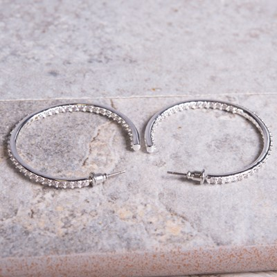 Silver Cubic Zirconia Inside-Out Hoop Earring
