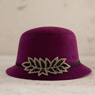 Berry Cloche Hat with Embellishment