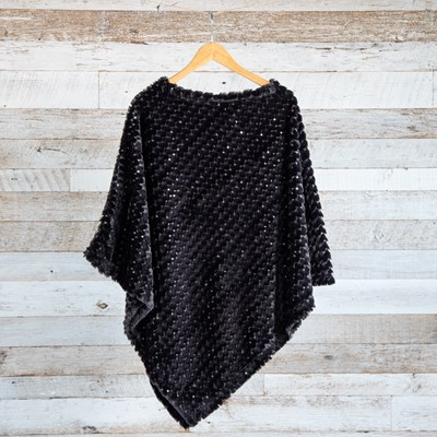 Black Sequin Faux Fur Poncho