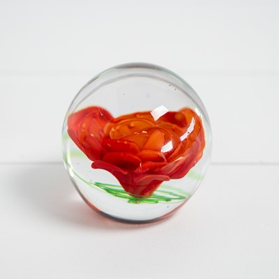 Coral Flower Glass Paperweight