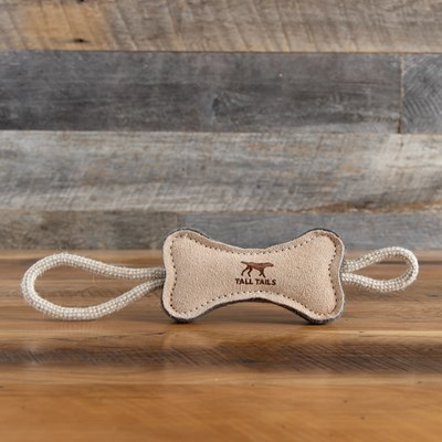 Leather Bone Dog Tug Toy