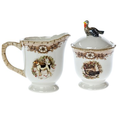 Woodland Stoneware Sugar and Creamer Set