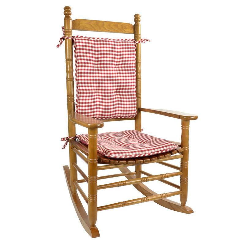 Red Gingham Rocking Chair Cushion Set 0