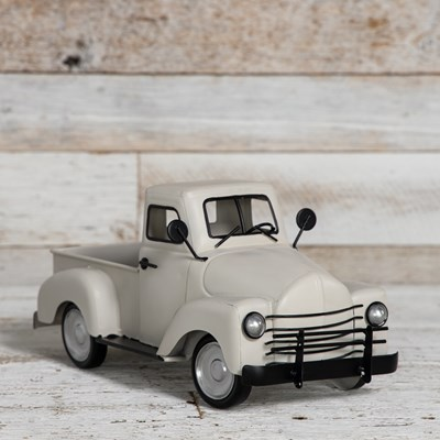 Decorative Metal Truck - White