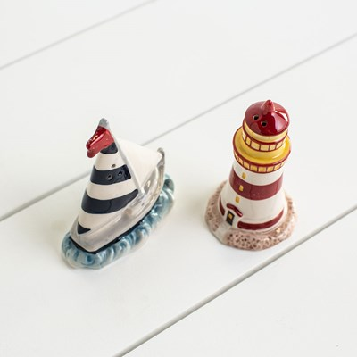 Sailboat and Lighthouse Salt and Pepper Shaker Set