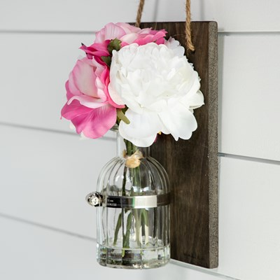 Faux Rose and Peony Wall Vase