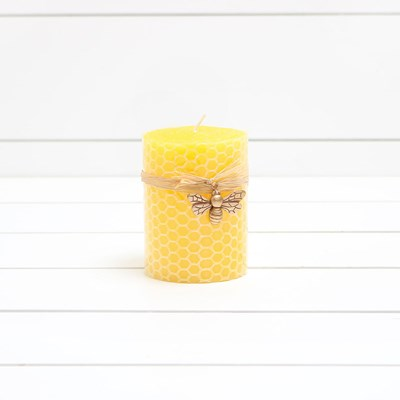Small Honeycomb Pillar Candle with Bee Charm
