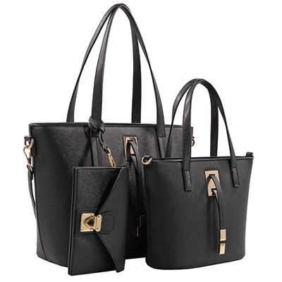 Black 3-Piece Tote Handbag Set