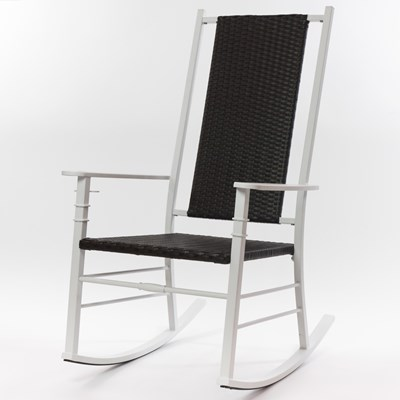 Palm Harbor Wicker Rocking Chair - White