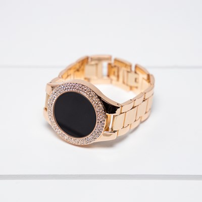 Gold Rhinestone Studded Tech Watch