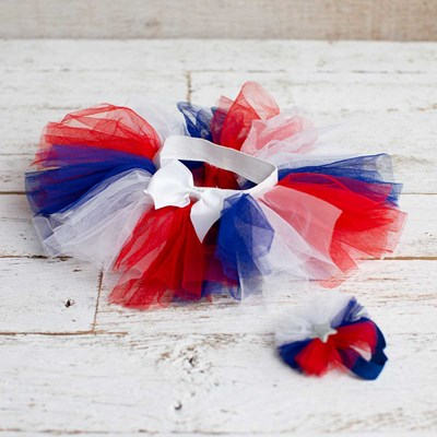 Infant Americana Tutu and Hair Set